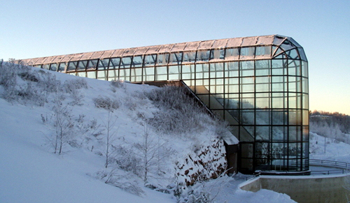 Wintery picture of Arctic Centre's home Arktikum House in Rovaniemi. Picture by Arto Vitikka from the Science communications.