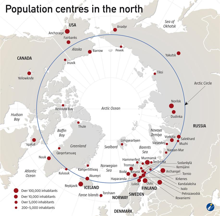 Population centres in the North