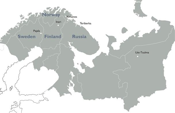 Map of the Barents Region