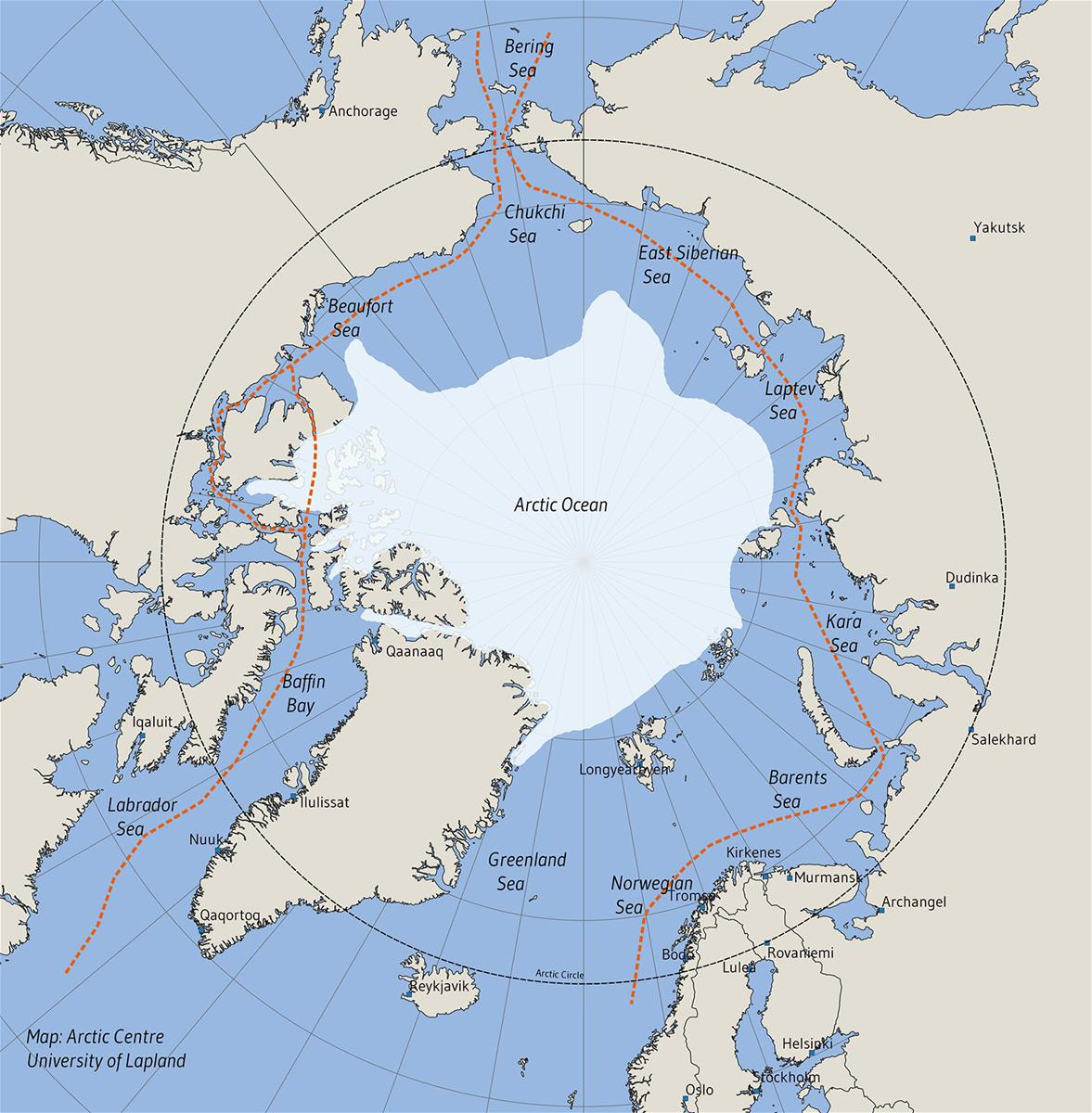 Map: Northern Sea Route and Northwest Passage