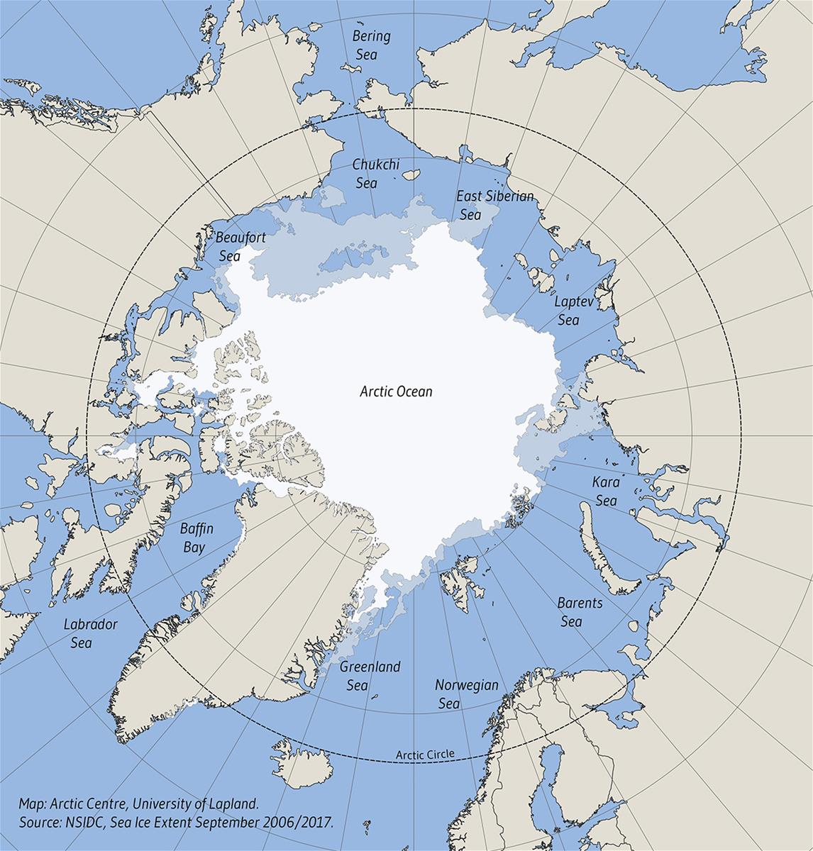 Map: Sea Ice Extent in September: 2006-2017