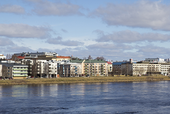 Rovaniemi centre looking from the Eastern bank of the Kemijoki river